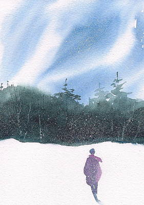 Wall Art - Painting - Winter Stroll Series by Debra LePage