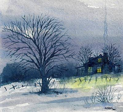 Art Print featuring the mixed media Winter Tree by Tim Oliver