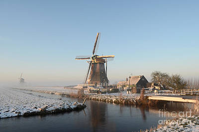 Winter Windmill Landscape In Holland Art Print