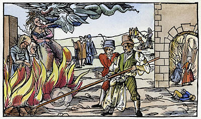 Discrimination Painting - Witch Burning, 1555 by Granger