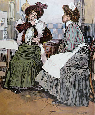 With The Cook In The Kitchen Art Print by Hlavaty, Franz (1861-1917), German
