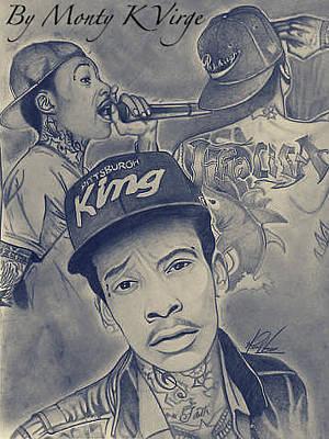 Wiz Khalifa Drawing - Wiz Khalifa by Monty Virge