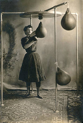 Boxing Photograph - Woman Boxing Workout by Underwood Archives