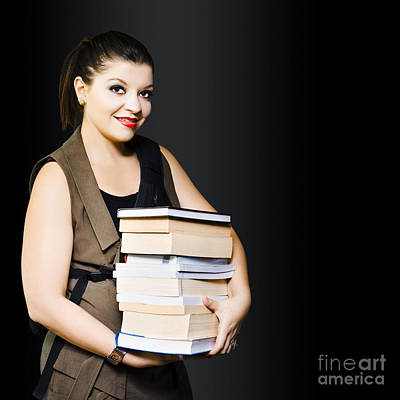 Woman Carrying Books From Library  Art Print by Jorgo Photography - Wall Art Gallery