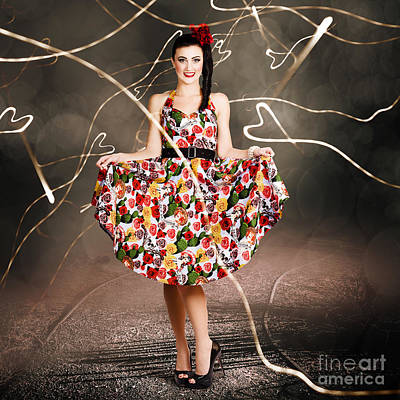Photograph - Woman Dancing In Colorful Floral Dress Outdoor by Jorgo Photography - Wall Art Gallery