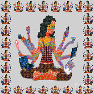 Mixed Media - Modern Woman Female Spiritual Inspiration Multitasking Leadership Goddess Background Designs   by Navin Joshi