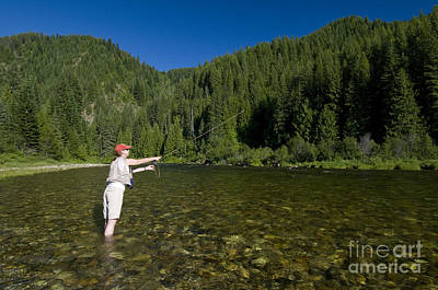 Woman Fly Fishing, Kelly Creek Art Print by William H. Mullins