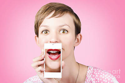 Woman Gossiping To Friends On Phone Video Chat  Art Print