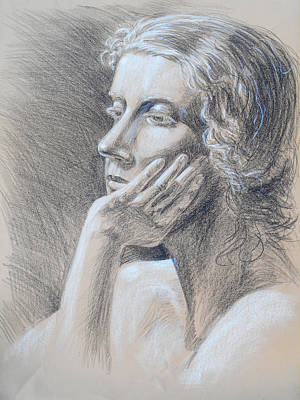 Figure Study Drawing - Woman Head Study by Irina Sztukowski