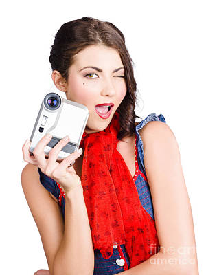 Videographer Photograph - Woman Holding A Home Video Camera. Making Movies by Jorgo Photography - Wall Art Gallery