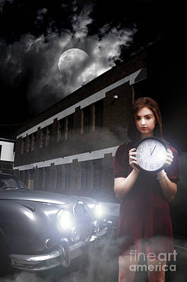 Moonlit Night Photograph - Woman Holding Clock by Jorgo Photography - Wall Art Gallery