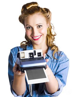 Polaroid Camera Photograph - Woman Holding Instant Camera by Jorgo Photography - Wall Art Gallery