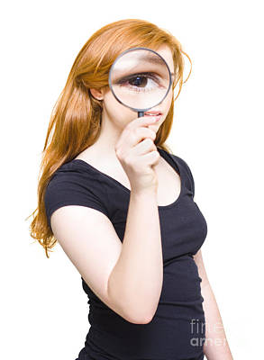 Teenagers Photograph - Woman Holding Looking Glass Or Magnifying Glass by Jorgo Photography - Wall Art Gallery