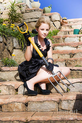 Youthful Photograph - Woman Holding Pitchfork by Jorgo Photography - Wall Art Gallery