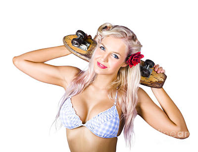Skateboards Photograph - Woman Holding Skateboard by Jorgo Photography - Wall Art Gallery
