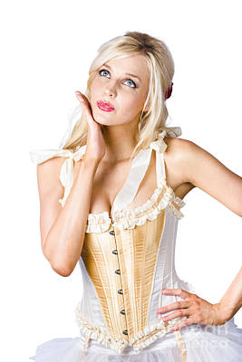 Thoughtful Photograph - Woman In Corset Dress by Jorgo Photography - Wall Art Gallery