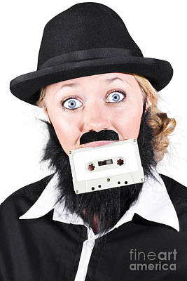 Woman In Male Costume Holding Cassette In Mouth Art Print