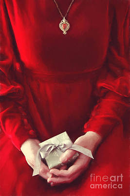 Red Ribbon Digital Art - Woman In Red Dress Holding Gift/ Digital Painting by Sandra Cunningham