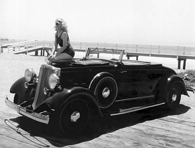 Photograph - Woman On A Hupmobile by Underwood Archives