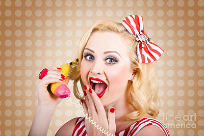 Woman On Banana Telephone. Health Eating News Art Print by Jorgo Photography - Wall Art Gallery