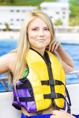 Inflatable Photograph - Woman On Sightseeing Boat Tour by Jorgo Photography - Wall Art Gallery