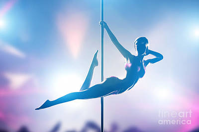 Figure Photograph - Woman Performs Sensual Passionate Pole Dance In Night Club by Michal Bednarek
