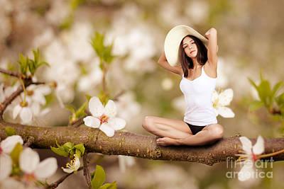 Enjoyment Digital Art - Woman Sitting On Tree by Aleksey Tugolukov