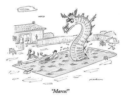 Dragon Drawing - Woman Speaks To Man In A Pool With The Lochness by Michael Maslin