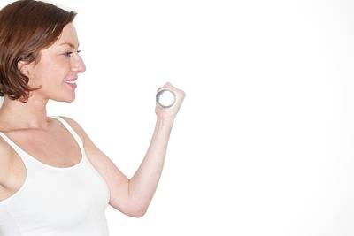 Enjoyment Photograph - Woman Using Hand Weight by Ian Hooton