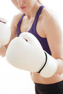 Woman Wearing Boxing Gloves Art Print by Ian Hooton