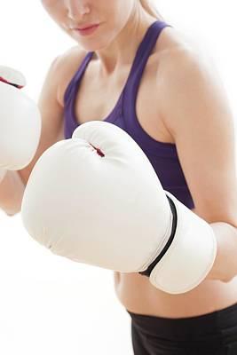 Woman Wearing Boxing Gloves Art Print by Ian Hooton