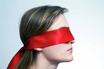 Sensory Perception Photograph - Woman Wearing Red Blindfold by Victor De Schwanberg
