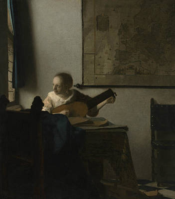 Lute Painting - Woman With A Lute by Johannes Vermeer