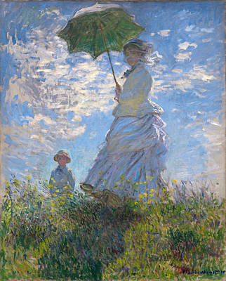 Mums Painting - Woman With A Parasol - Madame Monet And Her Son by Claude Monet