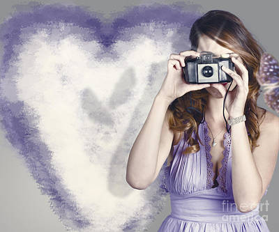 Fluttering Photograph - Woman With Camera. Love In A Still Frame Capture by Jorgo Photography - Wall Art Gallery