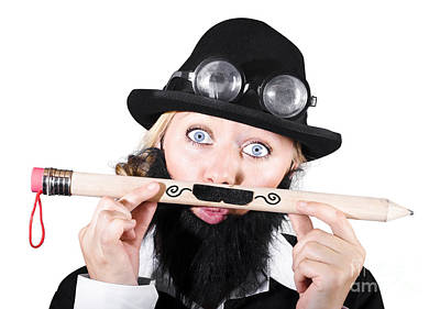 Woman With Fake Beard Holding A Pencil Having Mustache Art Print by Jorgo Photography - Wall Art Gallery