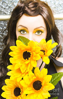Sunflowers Royalty-Free and Rights-Managed Images - Woman With Flowers by Jorgo Photography - Wall Art Gallery