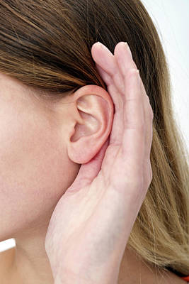 Perception Photograph - Woman With Hand Cupping Ear by Lea Paterson
