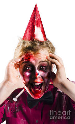 Woman With Horror Make Up And Party Hat Art Print by Jorgo Photography - Wall Art Gallery