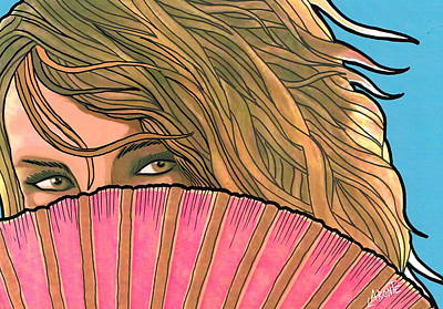 Woman With Pink Fan  Art Print by Mario Labonte