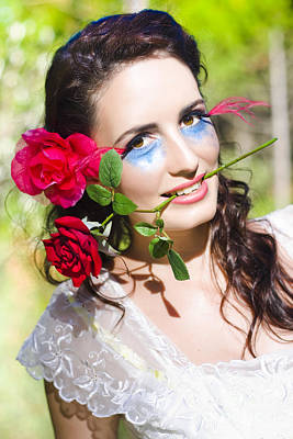 Photograph - Woman With Red Roses by Jorgo Photography - Wall Art Gallery