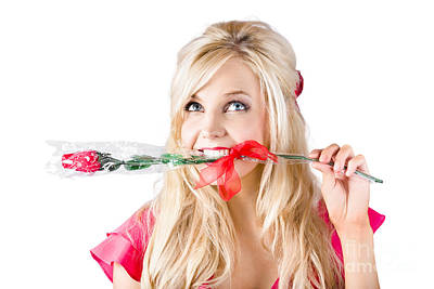 Youthful Photograph - Woman With Rose Between Teeth by Jorgo Photography - Wall Art Gallery