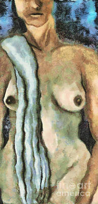 Nudes Digital Art - Woman With Veil by Michal Boubin
