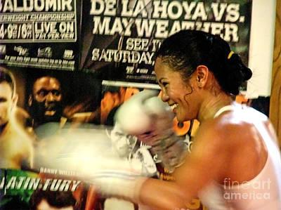 Artist Working Photograph - Woman's Boxing Champion Filipino American Ana Julaton by Jim Fitzpatrick