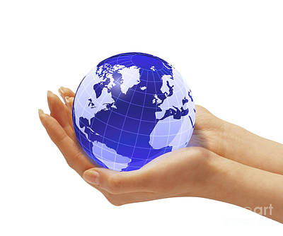 Womans Hands Holding An Earth Globe Print by Leonello Calvetti
