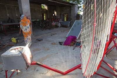 Women Constructing Solar Cookers Art Print