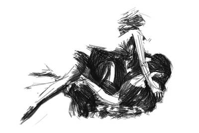 Abstract Expressionism Drawing - Women In Love by Steve K