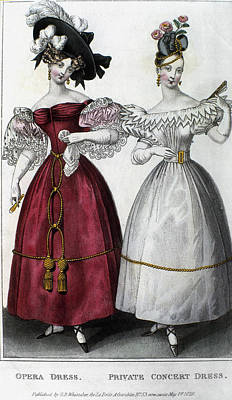 Opera Gloves Painting - Women's Fashion, 1829 by Granger