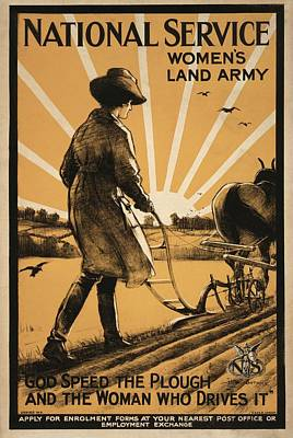 Civilians Photograph - Women's Land Army Recruitment Poster by Library Of Congress