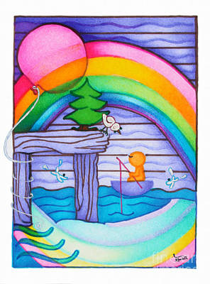 Crab Basket Painting - Woobies Character Baby Art Colorful Whimsical Rainbow Design By Romi Neilson by Megan Duncanson
